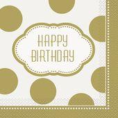 Servítky Happy Birthday Gold