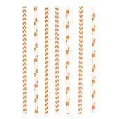 Slamky papierové Chevron&Dots oranžové