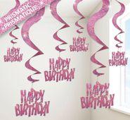 Špirály glitz Happy birthday ružové