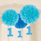 Pompónové gule baby blue s číslom jedna