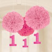 Pompónové gule baby pink s číslom jedna