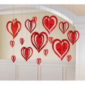 Visiace dekorácie 3D Hearts