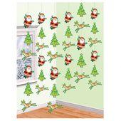 Visiace dekorácie Rudolf a Santa