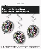 Visiace špirály Happy New Year Balloons