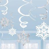 Visiace špirály snehové vločky