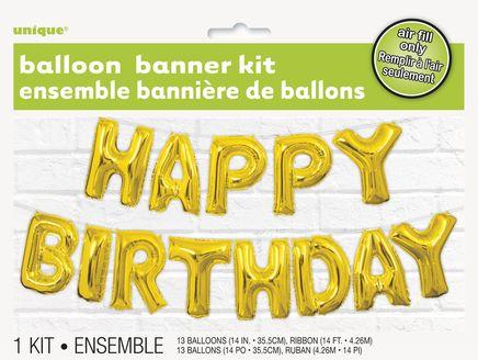 Balónový banner Happy Birthday zlatý