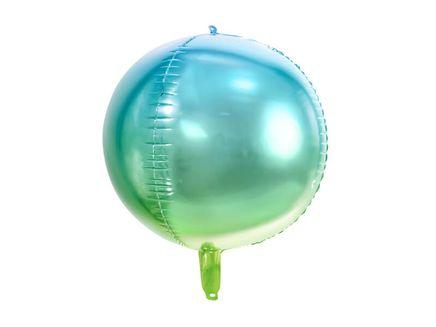 Fóliový balón Guľa Ombré modrozelený