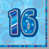 Servítky Birthday ´´16´´ Blue
