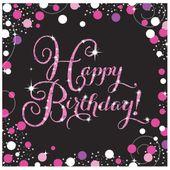 """Servítky """"Happy Birthday"""" Pink Diamonds"""