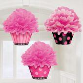 Visiace košíčky s guľou ružové