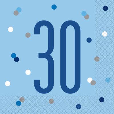 Unique Servítky 30 narodeniny modré 33cm 16ks