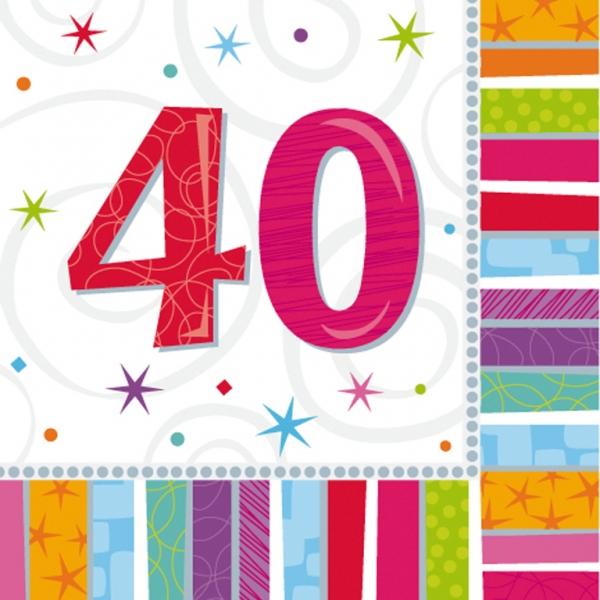 Amscan Servítky 40 narodeniny 33x33cm 16ks