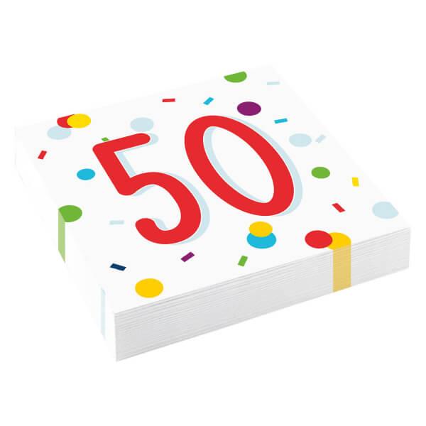 Amscan Servítky 50 narodeniny 33cm 20ks