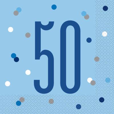 Unique Servítky 50 narodeniny modré 33cm 16ks