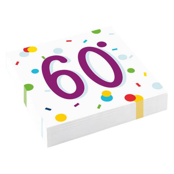 Amscan Servítky 60 narodeniny 33cm 16ks