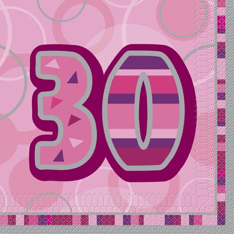 Unique Servítky 30.narodeniny ružové 33x33cm 16ks