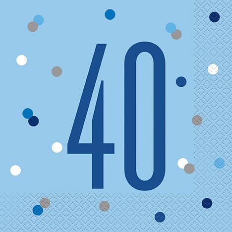 Unique Servítky 40.narodeniny modré 33x33cm 16ks