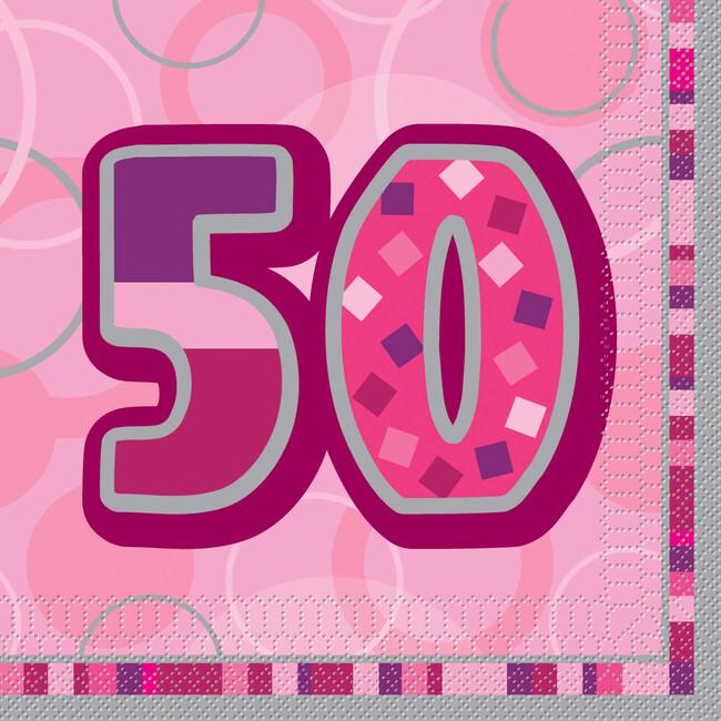 Unique Servítky 50.narodeniny ružové 33x33cm 16ks