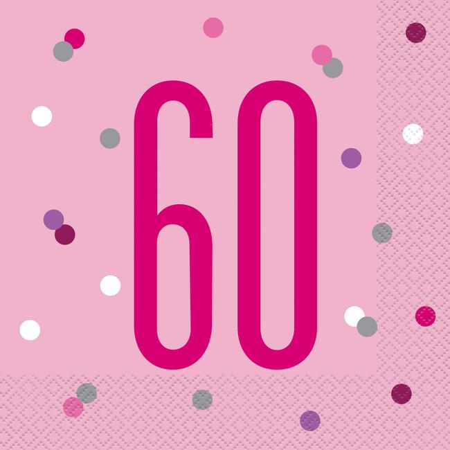 Unique Servítky 60.narodeniny ružové 33x33cm 16ks