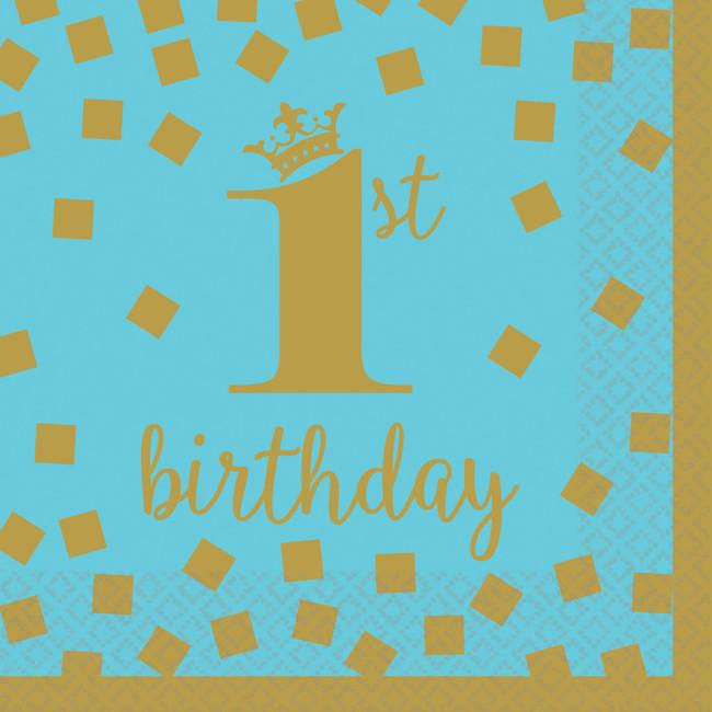 Amscan Servítky malé 1.narodeniny modré 25x25cm 16ks
