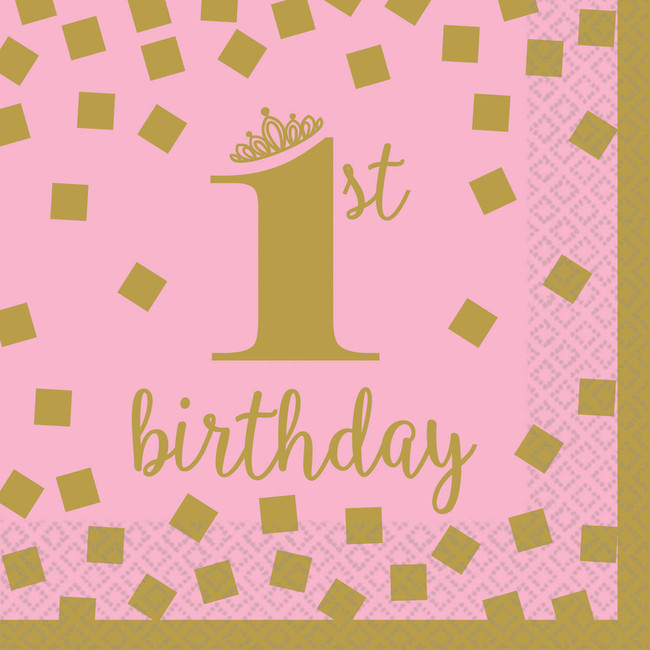 Amscan Servítky malé 1.narodeniny ružové 25x25cm 16ks
