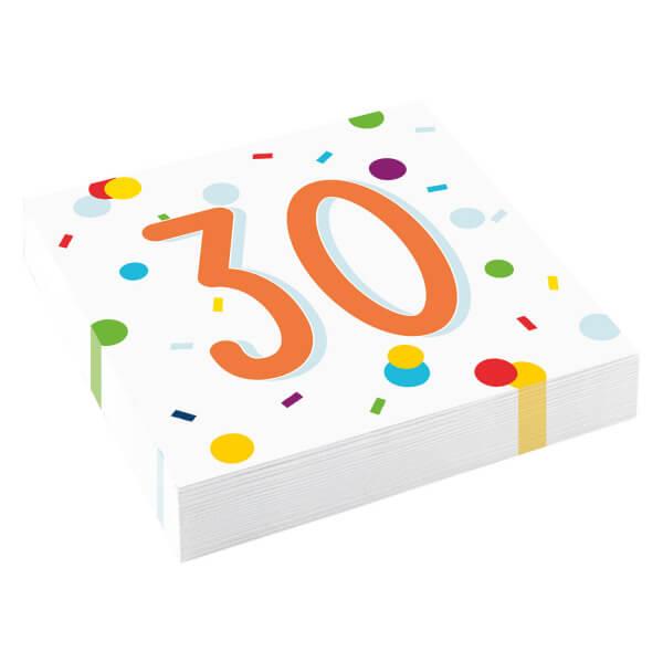 Amscan Servítky 30 narodeniny 33cm 20ks