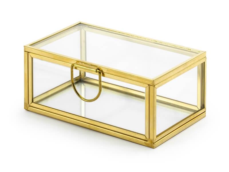 PartyDeco Sklenená krabička na obrúčky zlatá 9x5,5cm