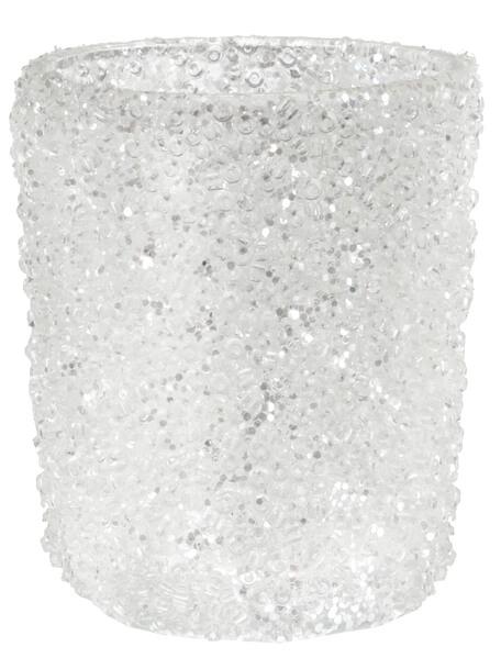 Santex Svietnik trblietavý biely sklenený 5341