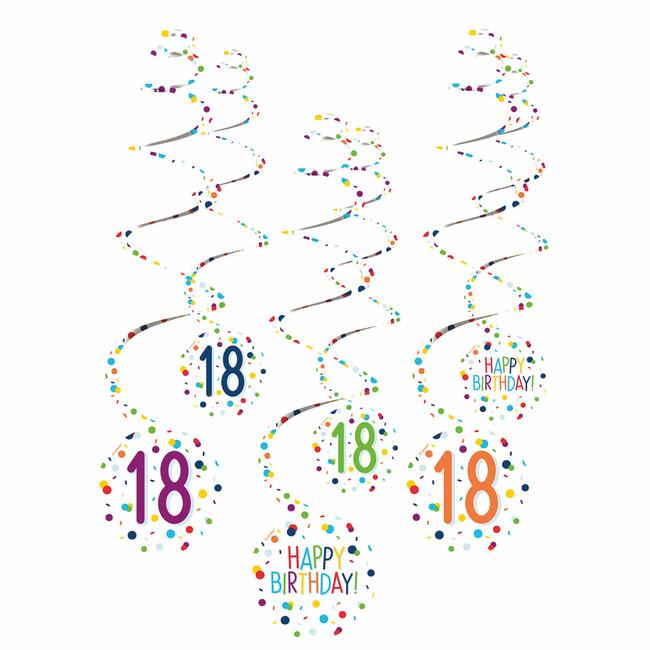Amscan Visiace špirály 18 narodeniny 61cm 6ks