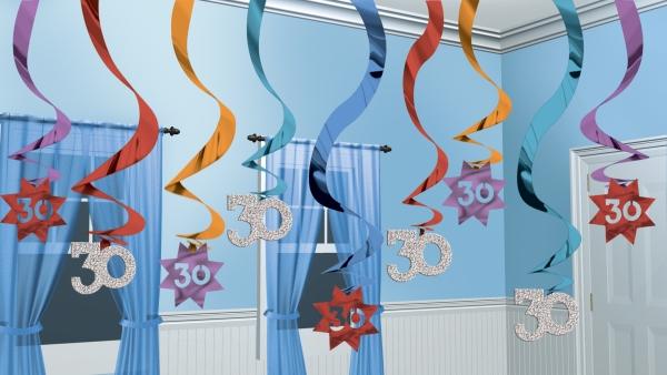 Amscan Visiace špirály 30.narodeniny multicolor 15ks