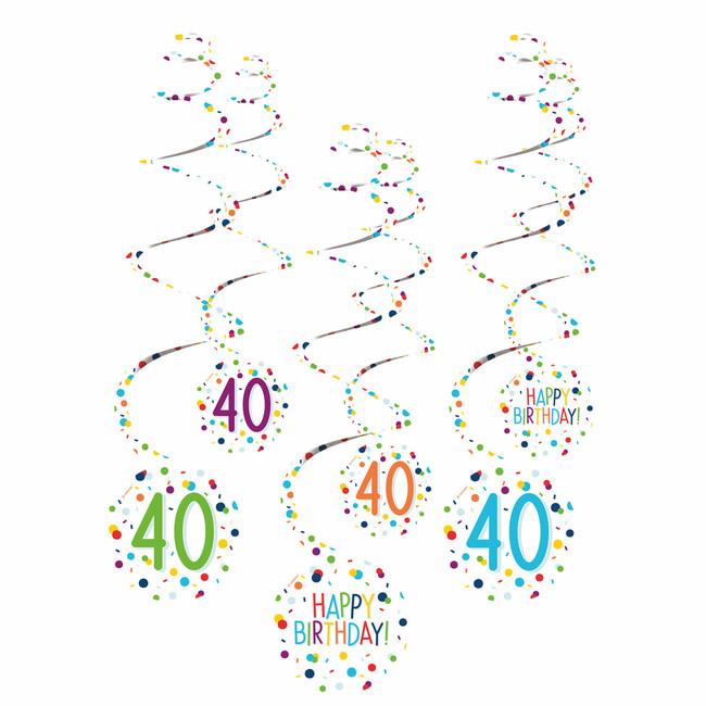 Amscan Visiace špirály 40 narodeniny 61cm 6ks