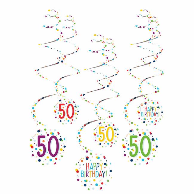 Amscan Visiace špirály 50 narodeniny 61cm 6ks