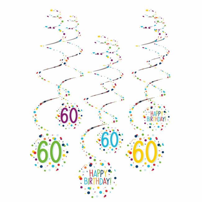 Amscan Visiace špirály 60 narodeniny 61cm 6ks