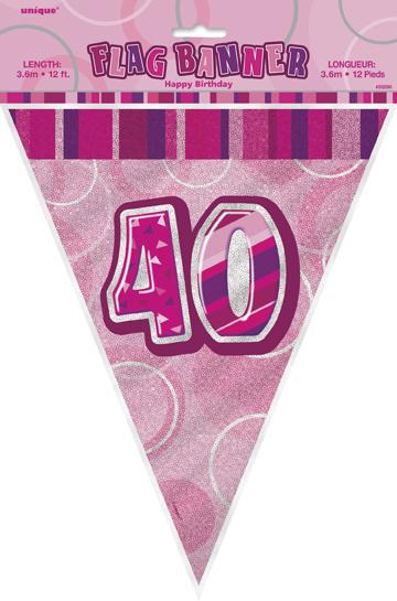 Unique Vlajočky 40.narodeniny ružové 274cm