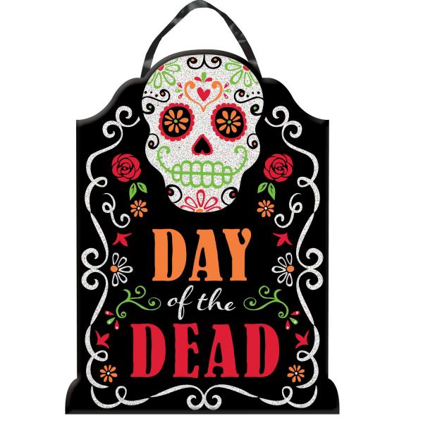 Amscan Závesná tabuľa Day of the Dead plastová 40x30cm